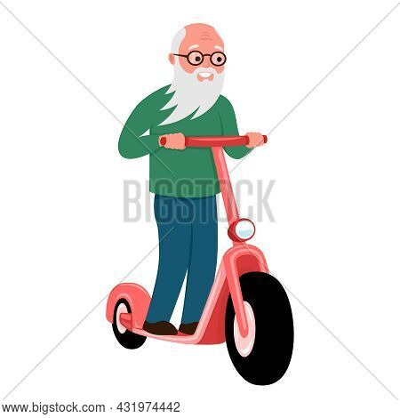 Cheerful Elderly Man Rides An Electric Scooter On A White Background.