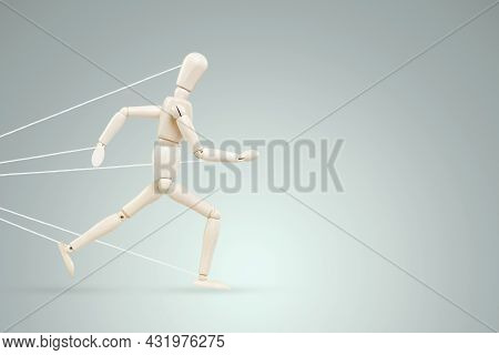 The Neon Marionette Tied Over The Legs And Arms Fights And Resists. Business Difficulty Or Struggle