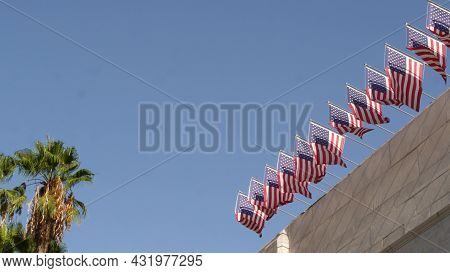 American Flags, Los Angeles City Hall, California Usa. Palms And Star-spangled Banners, Stars And St