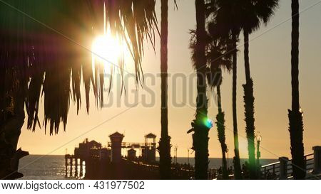 People Walking Wooden Pier, California Usa. Oceanside Waterfront Vacations Tourist Resort. Ocean Bea