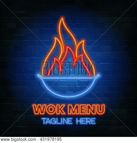 Wok Menu Neon Sign On A Brick Wall Background. Stock Vector Illustration.