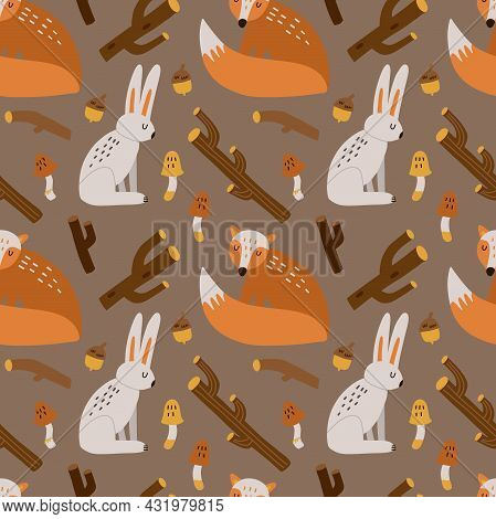 Forest Animals Seamless Pattern. Hand Drawn Cartoon Scandinavian Fox And Hare Cute Scandi Illustrati