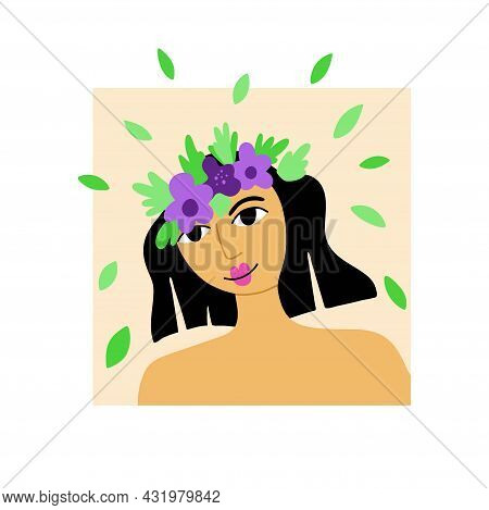 Girl Flower Portrait. Beautiful Pretty Female Face With Blossoms, Lady Smiling, Card Or Poster. Spri