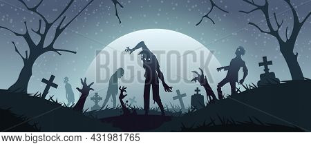 Zombies On Graveyard. Cemetery Background With Scary Monsters Silhouettes And Creepy Gravestones. Sp