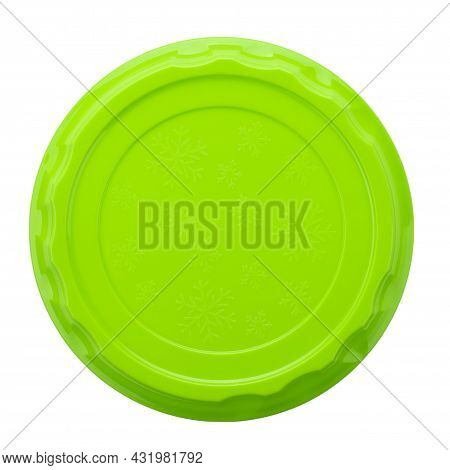 Top View Of Light Green Plastic Lid Isolated On White. Plastic Circle. File Contains Clipping Path.
