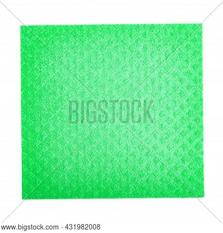 Clean Sponge Rag On Isolated White Background. Household Cleaning Cloth. Cleanliness Concept.