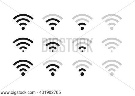 A Set Of Vector Icons Of The Wi-fi Signal. All Stages Of The Signal. Wireless Connection
