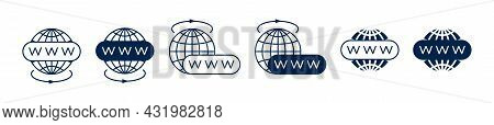 A Set Of Vector Website Icons. A Collection Of Www Icons With A Globe. The Internet Icon. The Icon I
