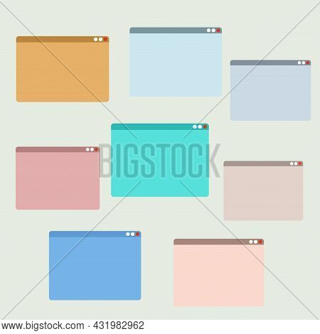 Empty Colored Windows To Group Video Call, Interface For Online Meeting And Webinar. Vector Illustra