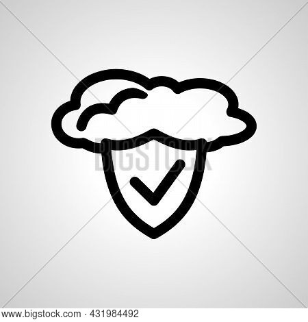 Cloud Protection Isolated Vector Icon. Protective Shield In The Cloud Vector Line Icon. Cloud Protec