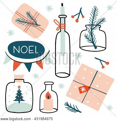 Noel Winter Card Or Poster. New Year And Winter Holiday Symbols. Gift Box, Candle, Garland, Jars And