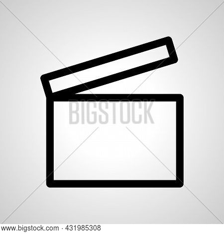 Movie Clapper Vector Line Icon. Movie Clapper Linear Outline Icon