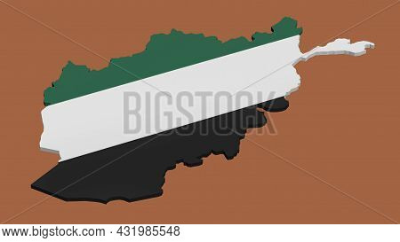 3d Model Of Afghanistan Map In The Colors Of The Northern Alliance Flag On A Brown Background. Isola
