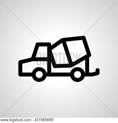 Concrete Mixer Truck Line Icon. Build, Construction Vector Icon