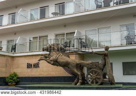 El Arenal, Spain; April 22 2021: Main Facade Of The Ben Hur Hotel Closed Due To The Economic Crisis