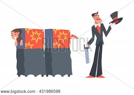 Man Illusionist As Circus Artist Character Sawing Woman In Half Performing On Stage Or Arena Vector