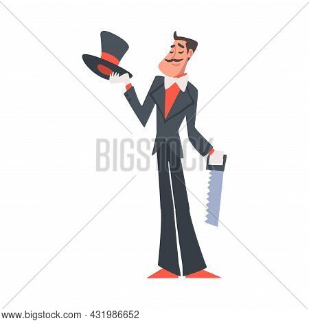 Man Illusionist As Circus Artist Character With Saw Performing On Stage Or Arena Vector Illustration