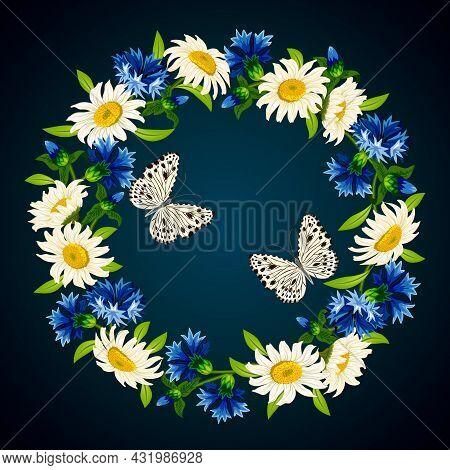 A Wreath Of Cornflowers And Daisies.vector Illustration With A Wreath Of Cornflowers, Daisies And Bu