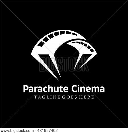 Movie Video Cinema Cinematography Film Production Logo With Parachute Illustration In Isolated White