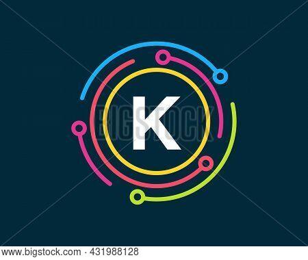 Technology Logo Design With K Letter Concept. Letter K Technology Logo. Network Logo Design