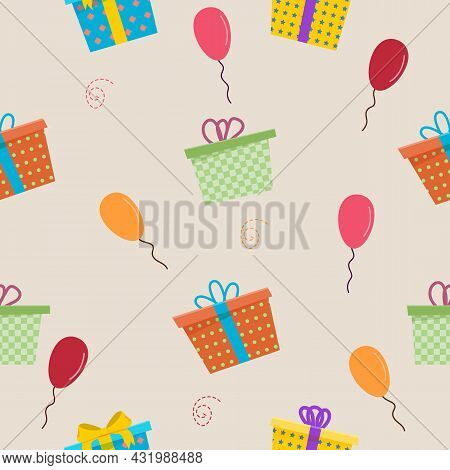 Different Gift Boxes Seamless Pattern. Gift Boxes With Baloons
