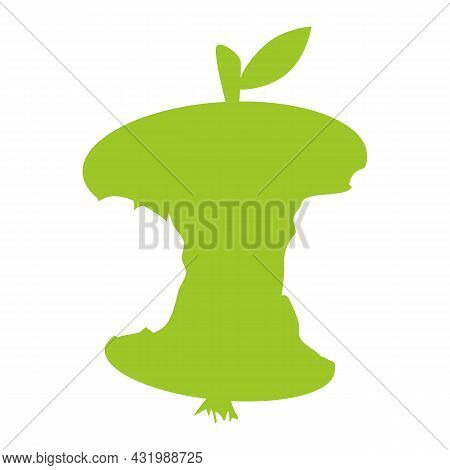 Apple Core Icon Isolated On White Background. Bitten Apple Symbol. Apple Stub Green Silhouette. Biod