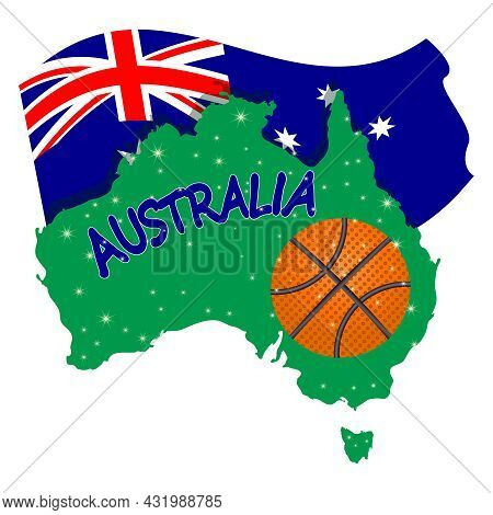Basketball Banner With Australia Flag, Continent And Ball Isolated On White Background. Australian B
