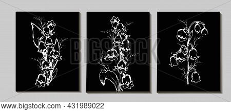 A Set Of Floral  A Hand-drawn Set With Lily Of The Valley Flowers, Primrose Leaves. Realistic Elemen