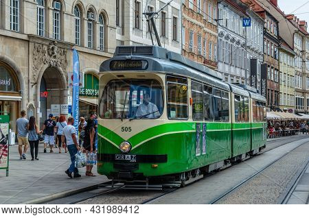 Graz, Austria - August 31, 2013: View Of A Tramway In The Streets Of Graz, Austria