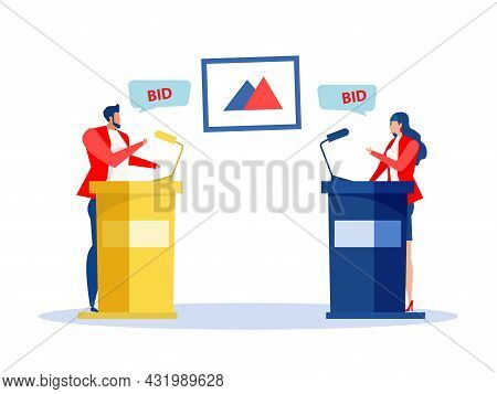 Buyers And Auctioneer Selling And Buying At Auction. Art Auction Business, Market Trade, Vector.