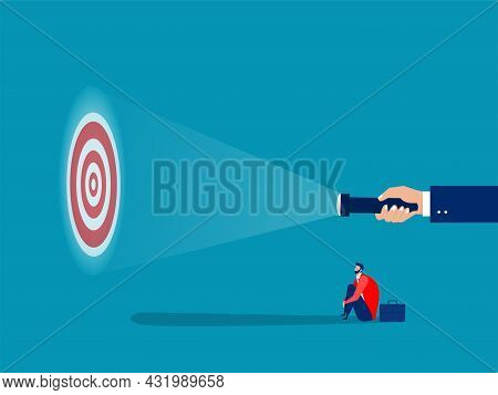Businessman Looking Guideline At Targets For Shooting Success Concept Vector Illustrator
