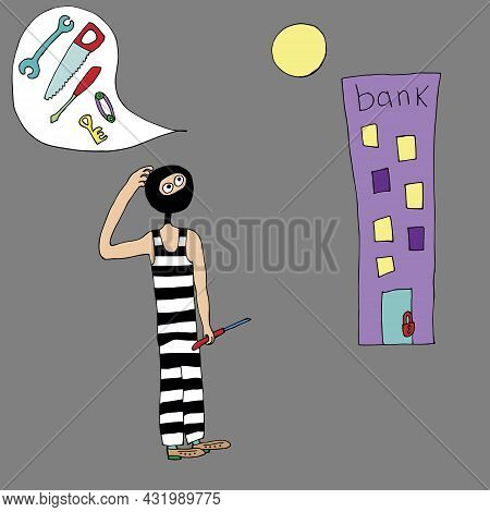 Thief Is A Swindler In Striped Clothes. A Thief With A Flashlight And Keys Wants To Rob A Bank. Vect
