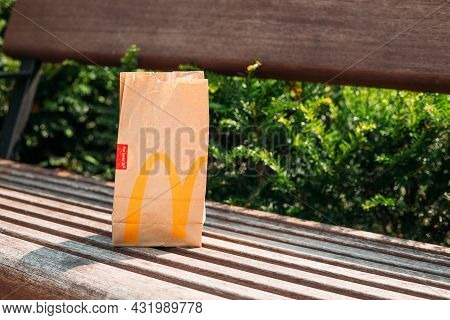 Cracow, Poland August 12 2021 - Used Bags From Food Purchased At A Fast Food Restaurant Mcdonalds, E