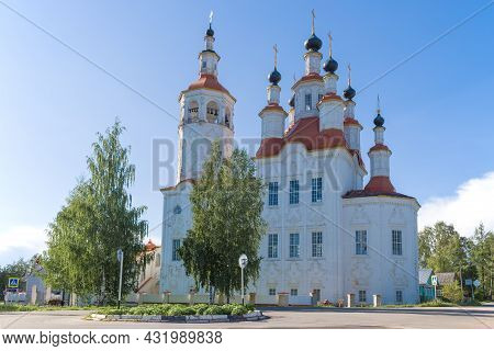 Ancient Church Of The Entry Of The Lord Into Jerusalem On A Sunny August Day. Totma, Russia