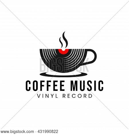 Coffee Music Records Logo Design Template With A Cup And A Vinyl Record. Vector Illustration.