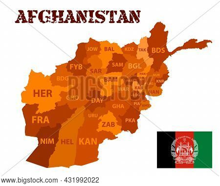 Detailed Vector Silhouette Of Afghanistan And Its Provinces With Abbreviated Names. Outline Of The S