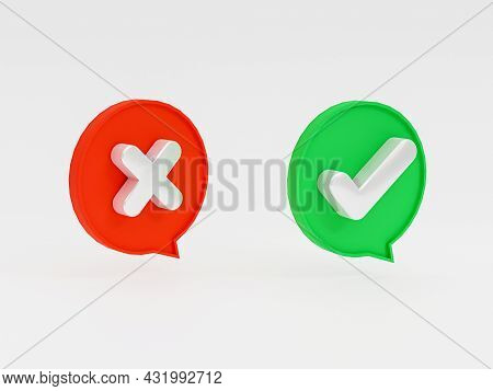 Isolated Of Right And Wrong Icon Inside Bubble Message On White Background Of Green Check Mark And C