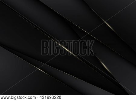 Abstract 3d Black Stripes Low Polygon Triangles With Golden Lines Overlapping Background. Luxury Sty