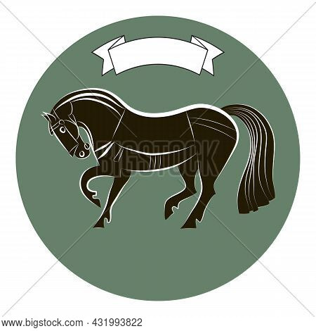 Thoroughbred Racehorse. Horse Silhouette Isolated On Green Circle Background. Black And White Outlin