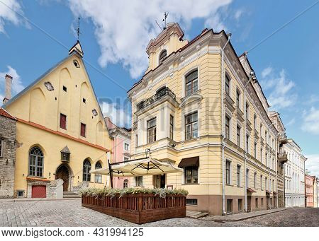 Medieval Tallinn, Panoramic Image Of Old Town. Ancient Houses On Cobbled Street In Medieval Center.