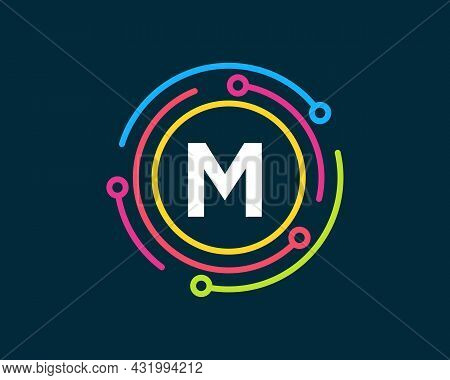 Technology Logo Design With M Letter Concept. Letter M Technology Logo. Network Logo Design