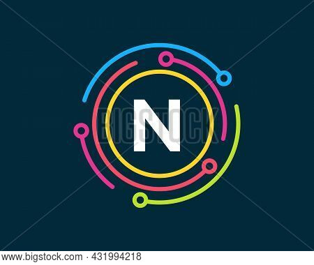Technology Logo Design With N Letter Concept. Letter N Technology Logo. Network Logo Design