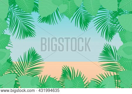 Tropical Background With Palm Tree Leaves And Jungle Plants. Jungle Forest. Leaves Of The Tropical T
