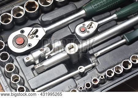 Set Of Wrench Heads Building Repair Tools. Hexagonal Metal Chrome Heads For Ratchet Key. Hand Tools