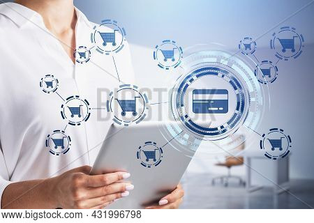 Businesswoman Wearing White Shirt Is Holding Tablet With Interface With Icons Of Credit Card And Car