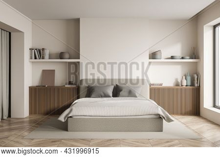 Modern Bedroom Interior With Two Symmetric Areas With Shelves, A Bed With Lighter Blanket, Grey Pill