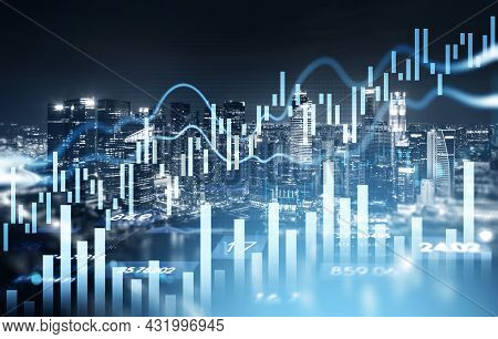 Singapore City Skyscrapers. Forex Financial Rising Graph And Chart With Numbers, Candlesticks, Lines