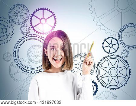 Smiling Businesswoman Wearing White Pullover Is Thinking About New Creative Ideas For Company. Wall