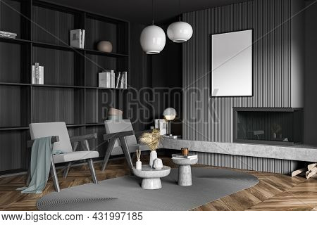 Corner Of Dark Grey Living Room With Poster Over Fireplace, Two Armchairs, Coffee Table Combination,