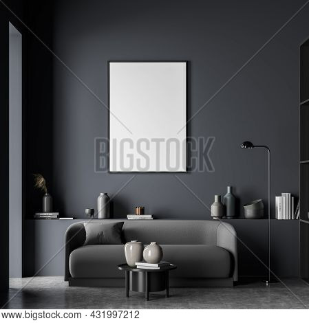 Canvas In The Interior Of A Dark Blue Living Room With A Sofa, A Basement Ledge, A Lamp, A Coffee Ta